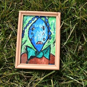 Original Folk Art Piece Tear Drop Man In Bowtie